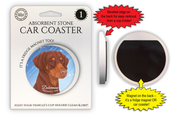 Doberman Pinscher (red-brown, dropped ears) Absorbent Stone Car Coaster