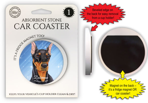 Doberman Pinscher (Black) Absorbent Stone Car Coaster