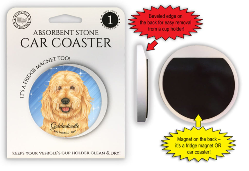 Goldendoodle Absorbent Stone Car Coaster