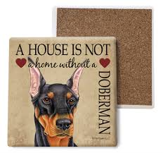 Doberman (Black) Absorbent Stone Coaster
