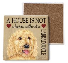 Labradoodle (Blonde) Absorbent Stone Coaster