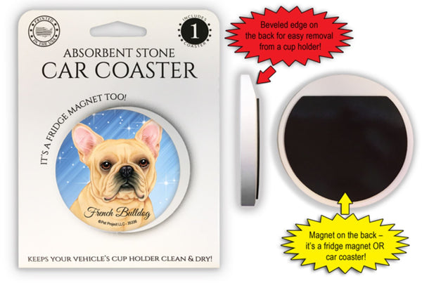 French Bulldog Absorbent Stone Car Coaster