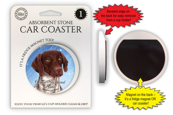 German Shorthaired Pointer Absorbent Stone Car Coaster