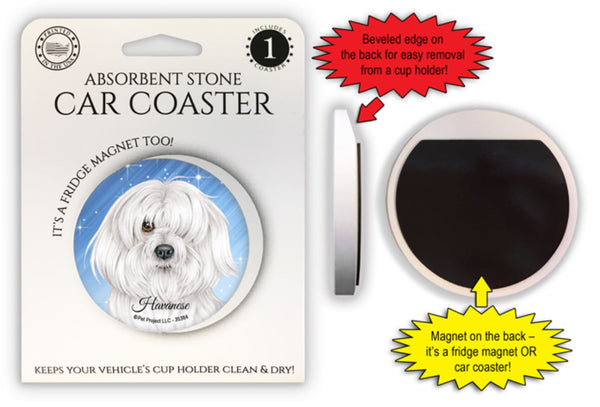Havanese Absorbent Stone Car Coaster