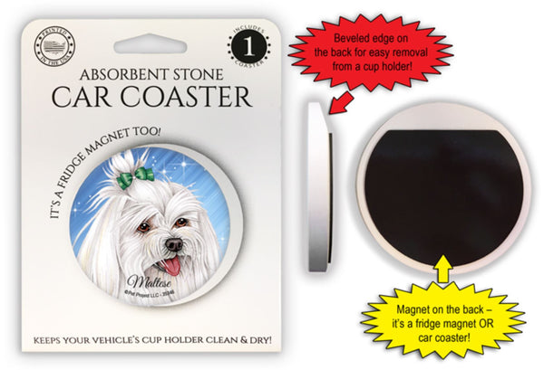Maltese (with bow in hair) Absorbent Stone Car Coaster