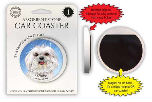 Maltese (puppy cut) Absorbent Stone Car Coaster