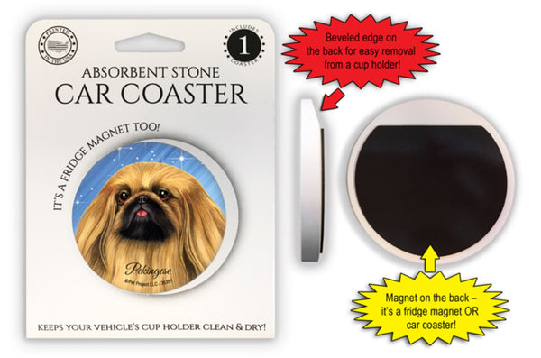 Pekingese Absorbent Stone Car Coaster