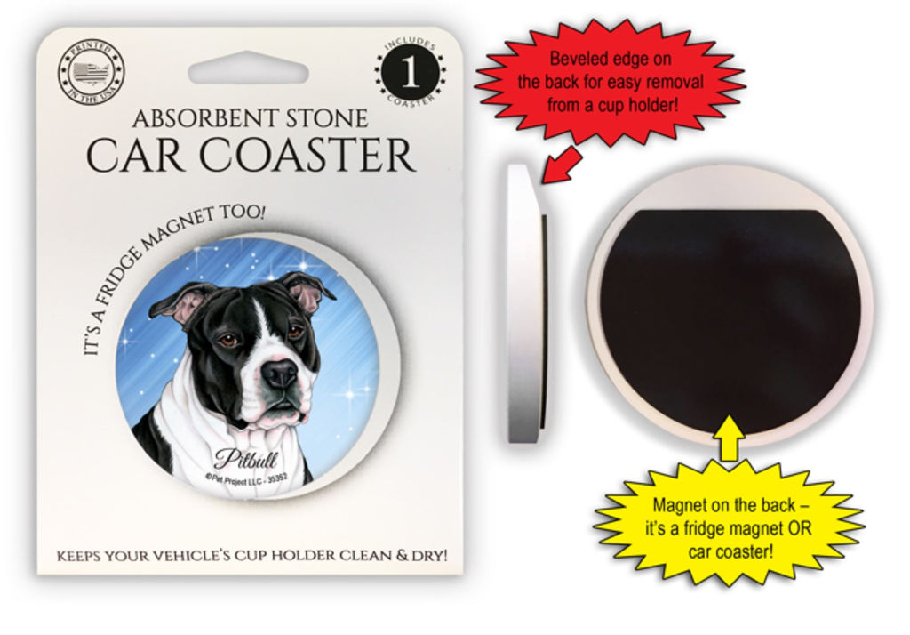 Pitbull (Black and white) Absorbent Stone Car Coaster