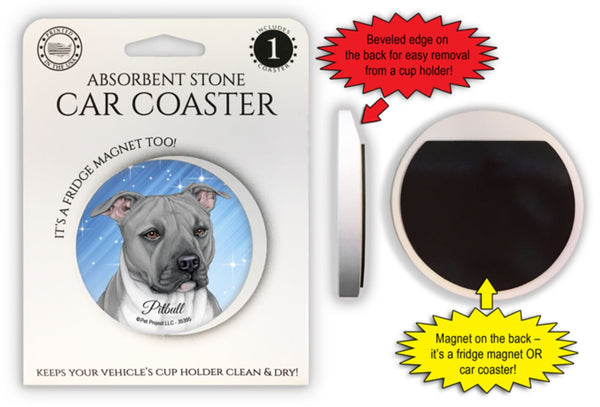 Pitbull (Gray color) Absorbent Stone Car Coaster