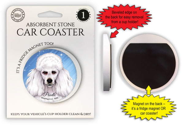Poodle (white) Absorbent Stone Car Coaster