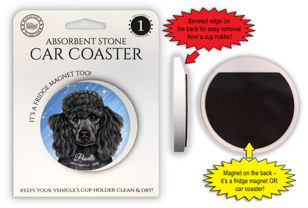 Poodle (black) Absorbent Stone Car Coaster