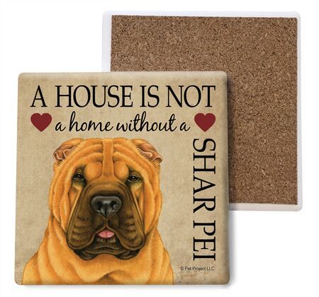 Shar Pei Absorbent Stone Coaster
