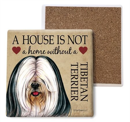Tibetan Terrier (White and black) Absorbent Stone Coaster