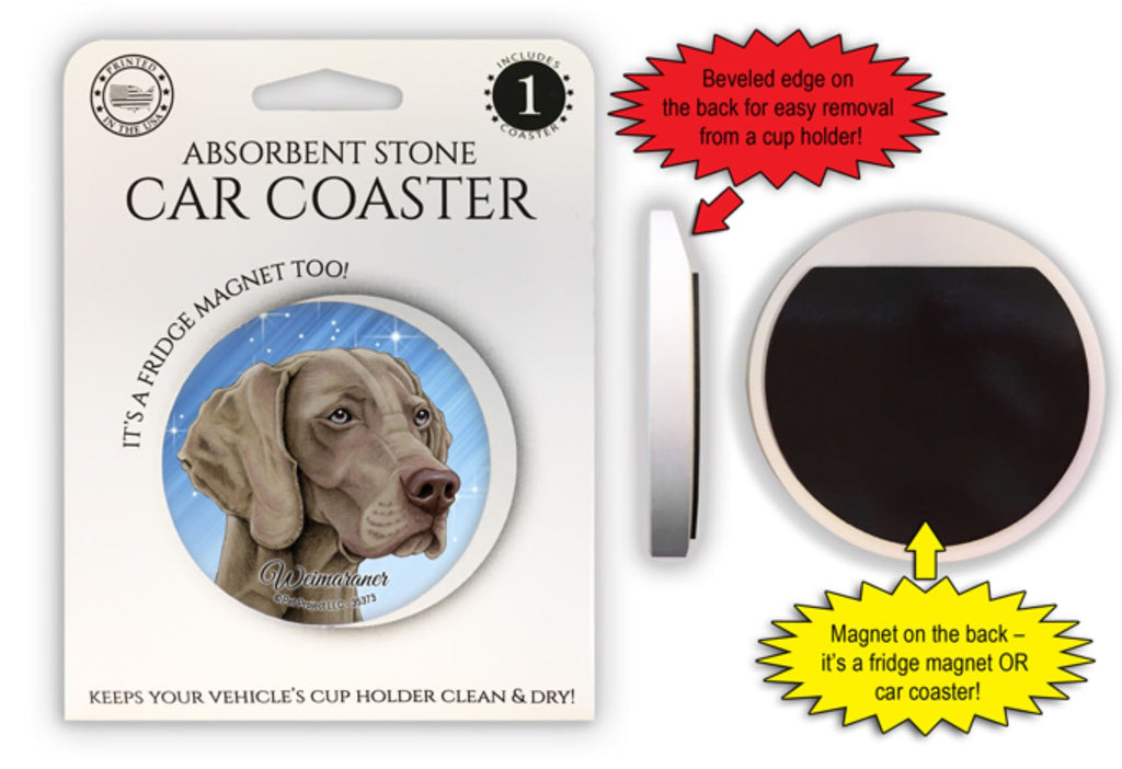 Weimaraner Absorbent Stone Car Coaster