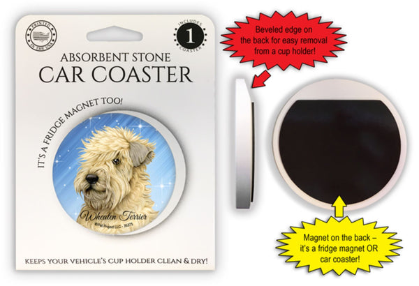 Wheaten Terrier Absorbent Stone Car Coaster