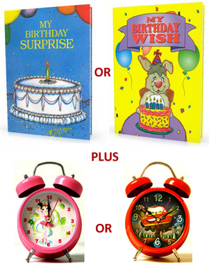 Birthday Book With Alarm Clock Gift Set