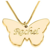 Rachel - 24 Karat Gold Plated Butterfly Name Necklace