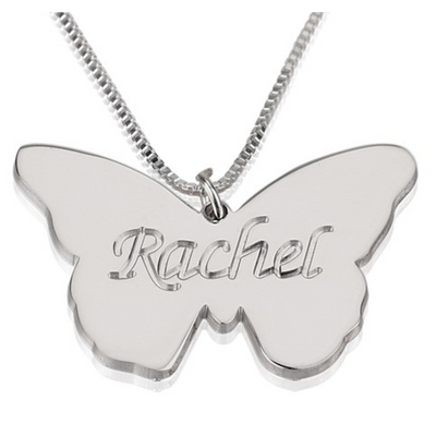 Rachel - Sterling Silver Butterfly Name Necklace