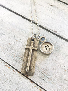 Faith necklace - Initial necklace - Hand stamped
