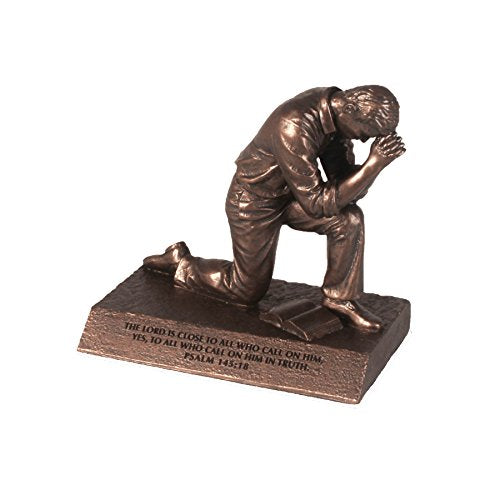 Praying Man Cast Stone Sculpture, Psalm 145:18