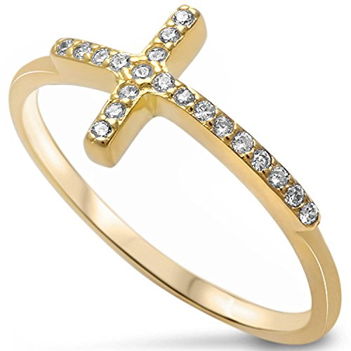 Sterling Silver Sideways Cross Pave Ring Gold Plated