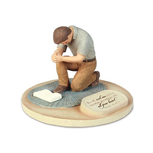 Devoted Praying Man Sculpture, 6 x 6 x 4