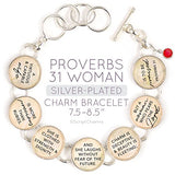 Proverbs 31 Scripture Charm Bracelet with Ruby-Red Swarovski