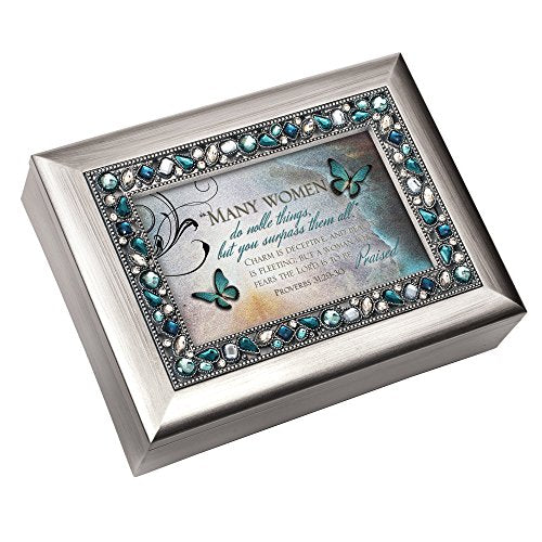 Musical Jewelry Box - Plays On Eagle's Wings with Proverbs 31:29-30