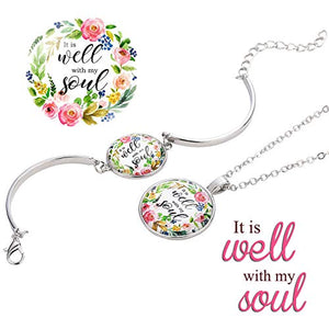 Well With My Soul Necklace & Bracelet Jewelry Set