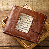 Brown Genuine Leather Wallet w/ Brass Inlay - Jeremiah 29:11