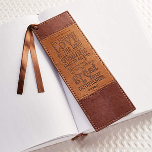 """Steadfast Love"" Faux Leather Bookmark - Lamentations 3:22-23"