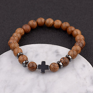 Wooden Cross Bracelet