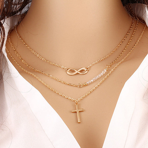 Layered Infinity Cross Necklace