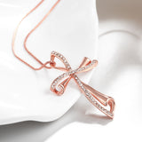 Wavy Diamond Cross Necklace