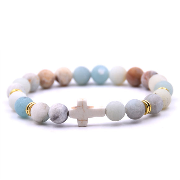 Natural Stone Cross Bracelet