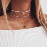 Pearled Choker Cross Necklace