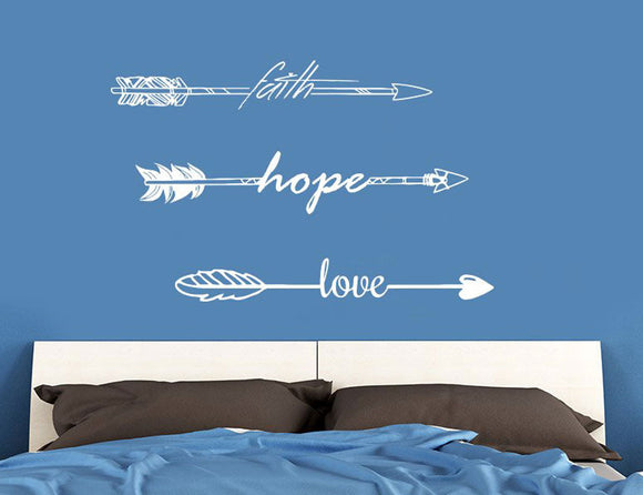 Faith Hope Love Arrows Wall Decal