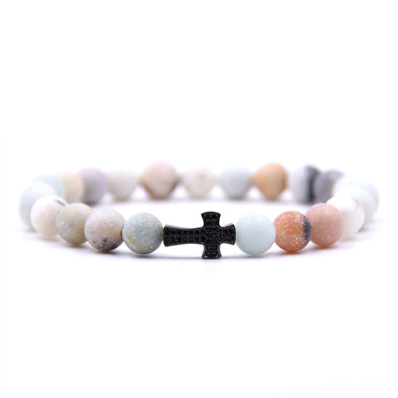 Natural Stone Cross Bracelet - Limited Edition