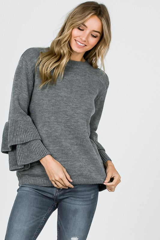 Samantha Ruffle Sleeve Sweater