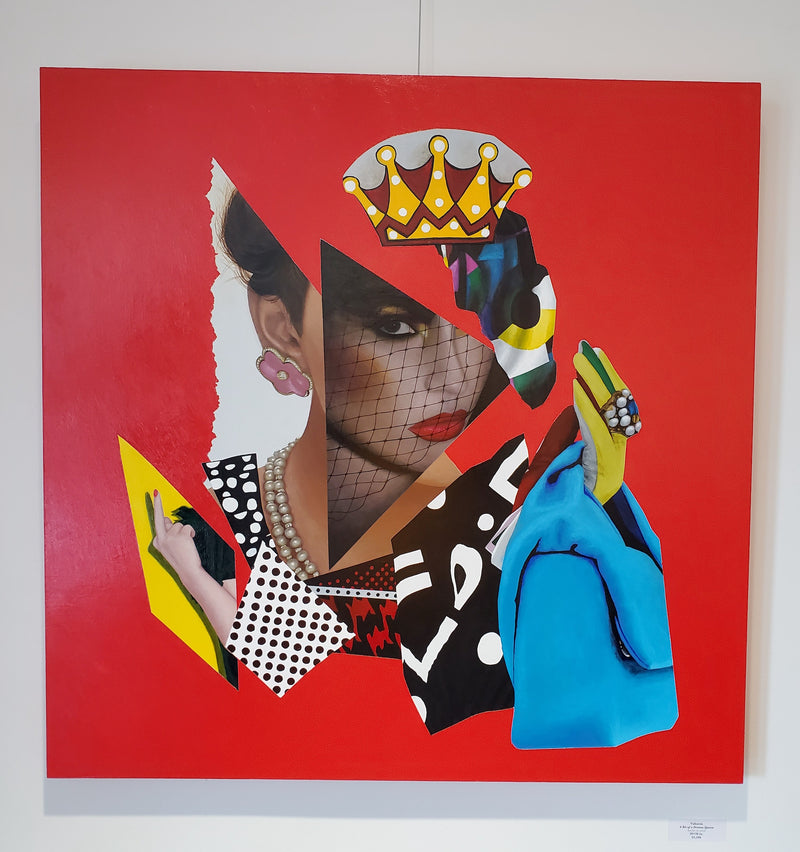 Vakseen Art - A Bit of a Drama Queen - Vanity Pop - Original 30x30 in Acrylic Painting & Wall Decor