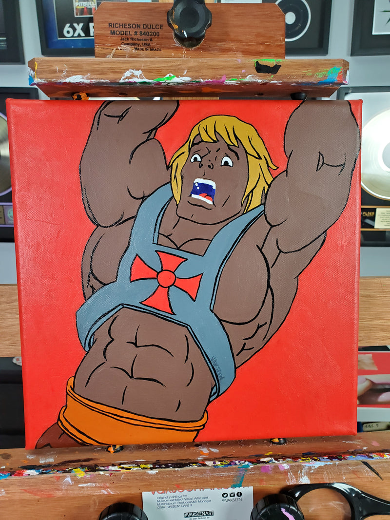 Let the Power Return! - Black He-Man portrait art - FOBP - Original Acrylic Painting & Wall Decor - Vakseen Art