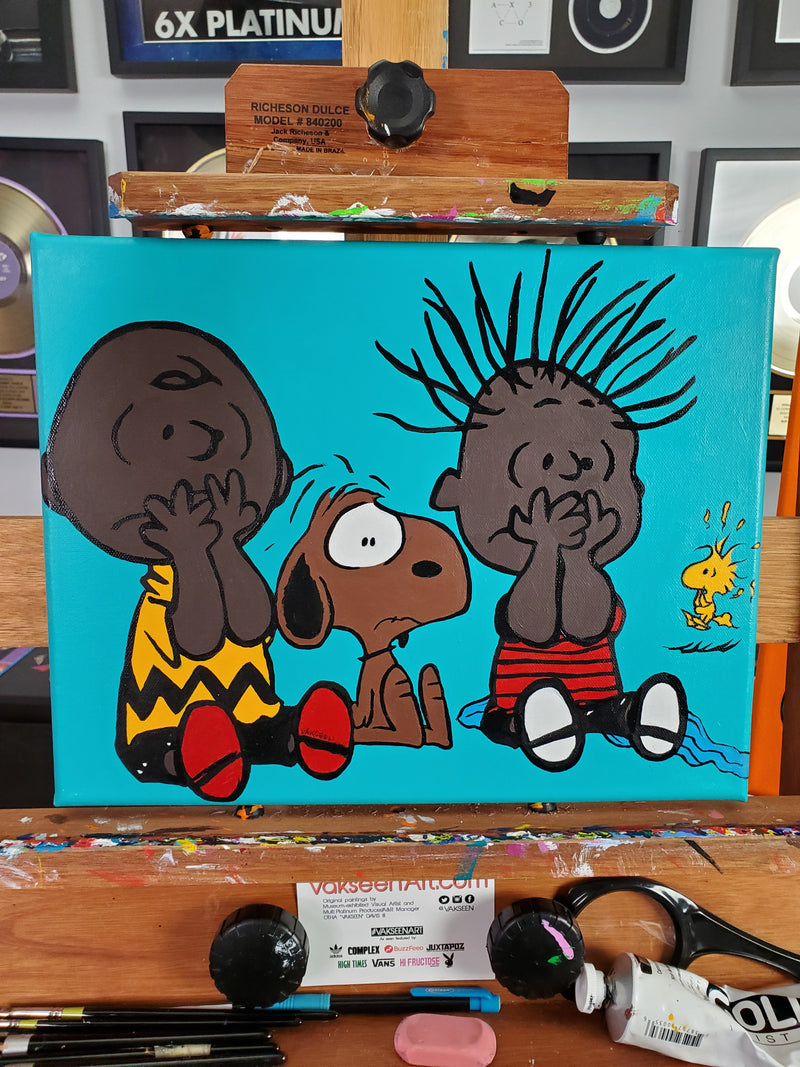 Vakseen Art - AAUGH! - Fear of a Black Planet - Original 11x14 inch Peanuts Gang Acrylic Painting
