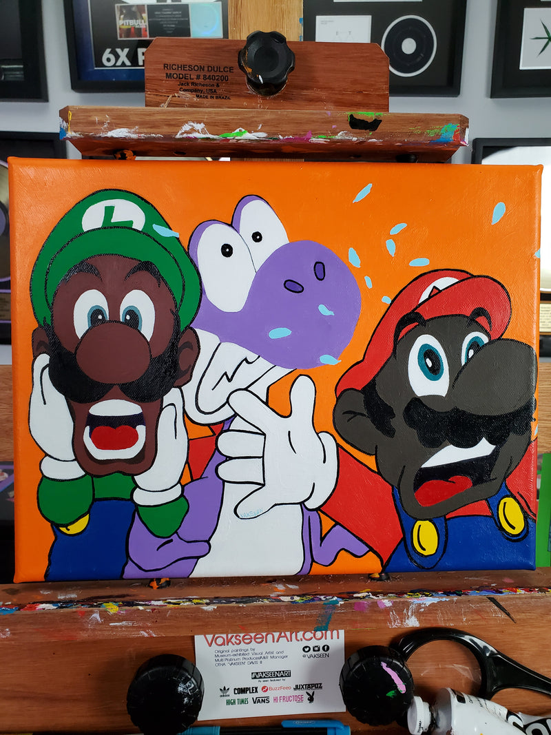 Mama Mia! - FOBP - Black Super Mario Bros portrait art - Original Acrylic Painting & Wall Decor - Vakseen Art