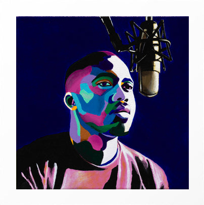Vakseen Art - One Mic - Nas portrait art - Limited Edition Giclee Art Print & Wall Decor