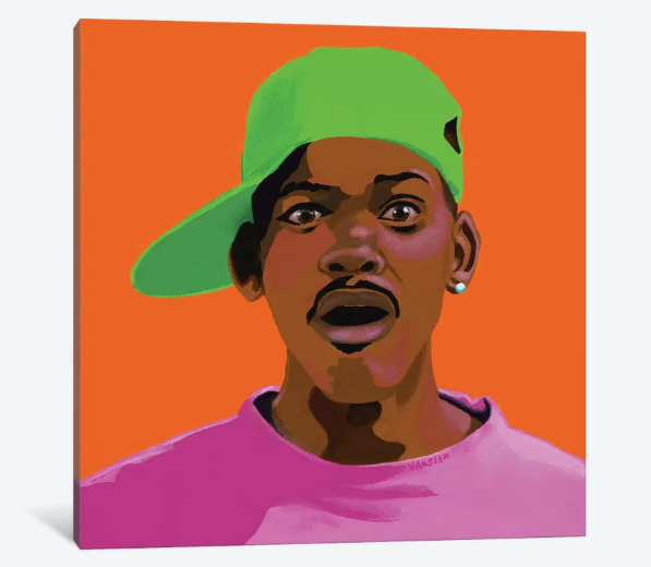 FRESHHH - Fresh Prince portrait art - Limited Edition Hand-Embellished Canvas Art Giclee - Vakseen Art