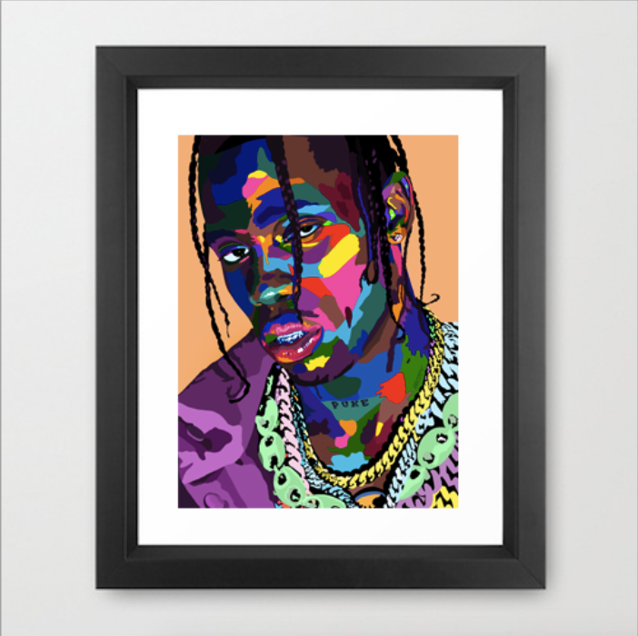 La Flame - Travis Scott Portrait - Limited Edition Giclee Art Print & Wall Decor - Vakseen Art