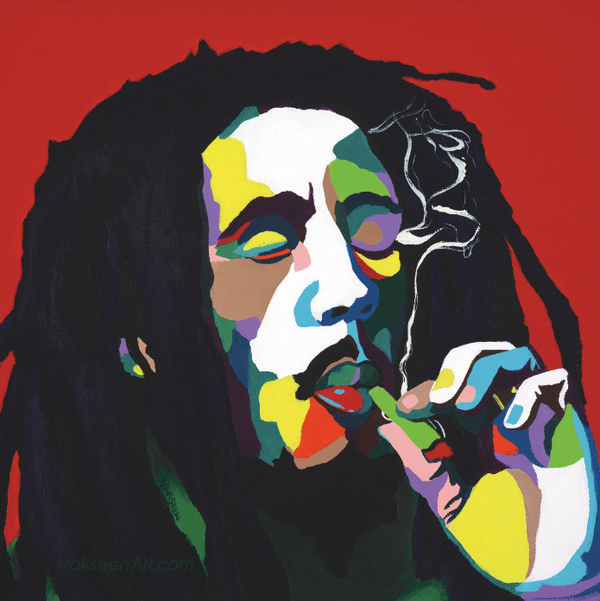 Burnin Bob -  Bob Marley portrait art - Custom Art Stickers for Laptops & Wall Decor - Vakseen Art