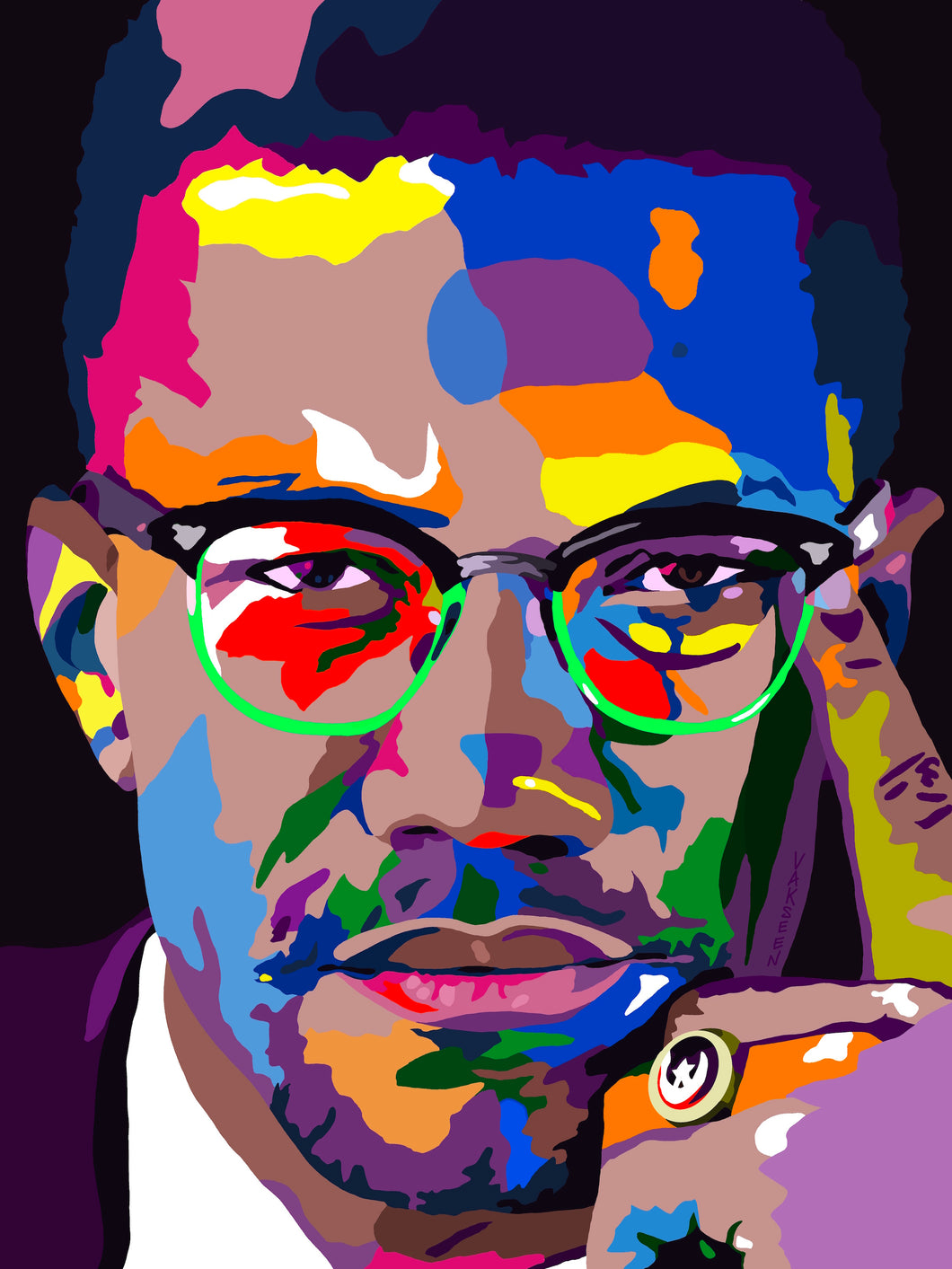 Vakseen Art - By Any Means - Malcolm X Portrait - Limited Edition Giclee Art Print & Wall Decor