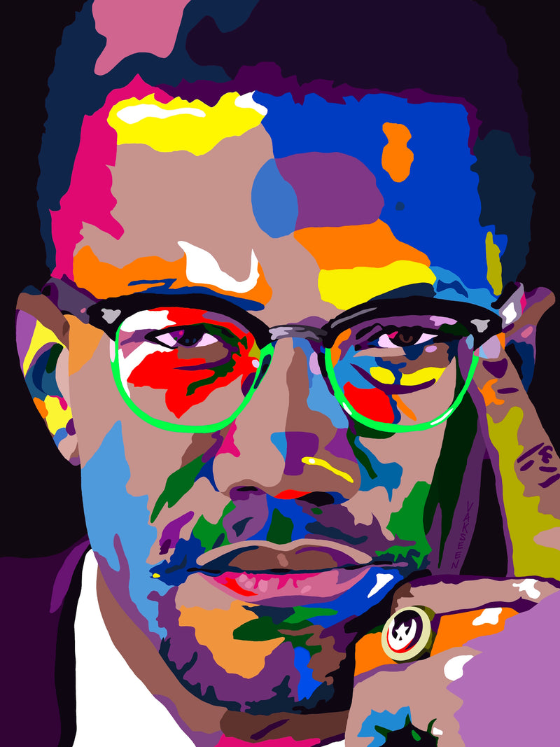 By Any Means - Malcolm X portrait art - Canvas Art Prints - Vakseen Art