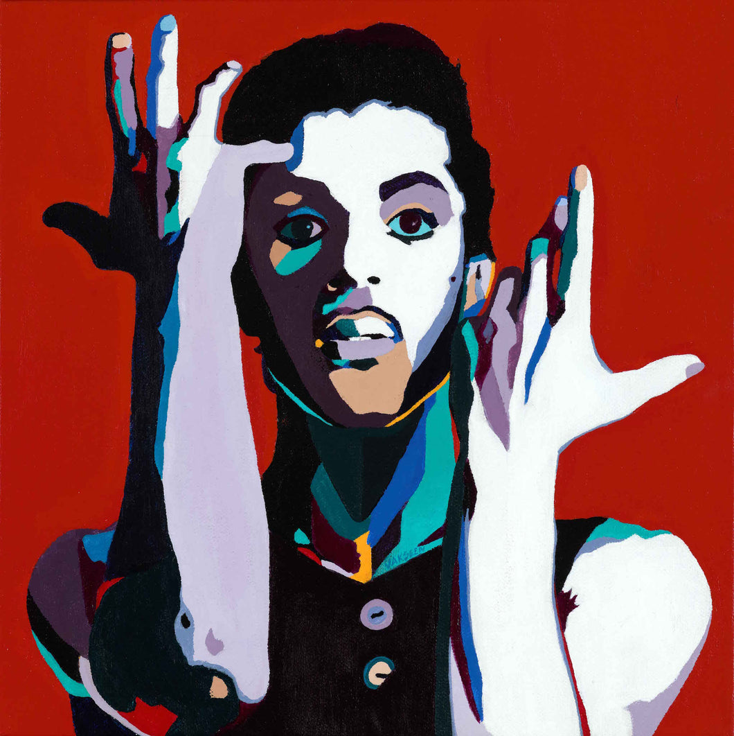 Vakseen Art - The Cherry Moon - Prince portrait art - Limited Edition Hand-Embellished Canvas Art Giclee